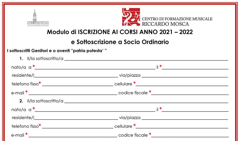 MODULO D'ISCRIZIONE 2021-2022